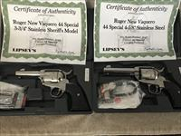 "RUGER VAQUERO ""SHERIFF'S SET"" SS One - 3-3/4"" & One - 5-5/8"""