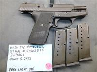 Used Sig P239 239 9mm Pistol with 3 x Sig Mags, Night Sights & Zipper Bag