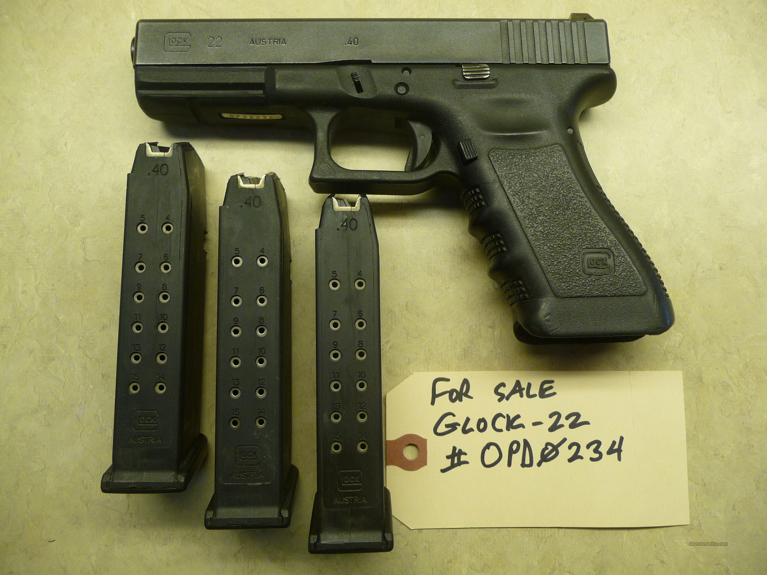 Used Gen 3 Glock 22 Police Trade In 40 Caliber For Sale