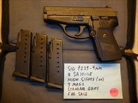 USED Sig P239, 239 9mm Pistol, 3 Mags, Night Sights & Zipper Bag