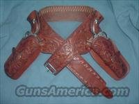 H H Heiser / V L & A Chicago Hand Tooled Double Drop #65 Belt #758 Holsters Antique Vintage