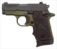 "EASY PAY $54 LAYAWAY  Sig Sauer P238 Pistol 238380AGF, 380ACP, 2.7"", Hogue Rubber Grip, Green Nitron Finish, Siglite Night Sights"