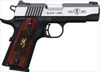 EASY PAY $75 DOWN LAYAWAY 12 MONTHLY PAYMENTS Browning Black Label Medallion Pro  concealed carry Based on 1911 380 ACP rosewood grips stainless steel Buck Mark logo Automatic Colt Pistol 023614443759 051913492