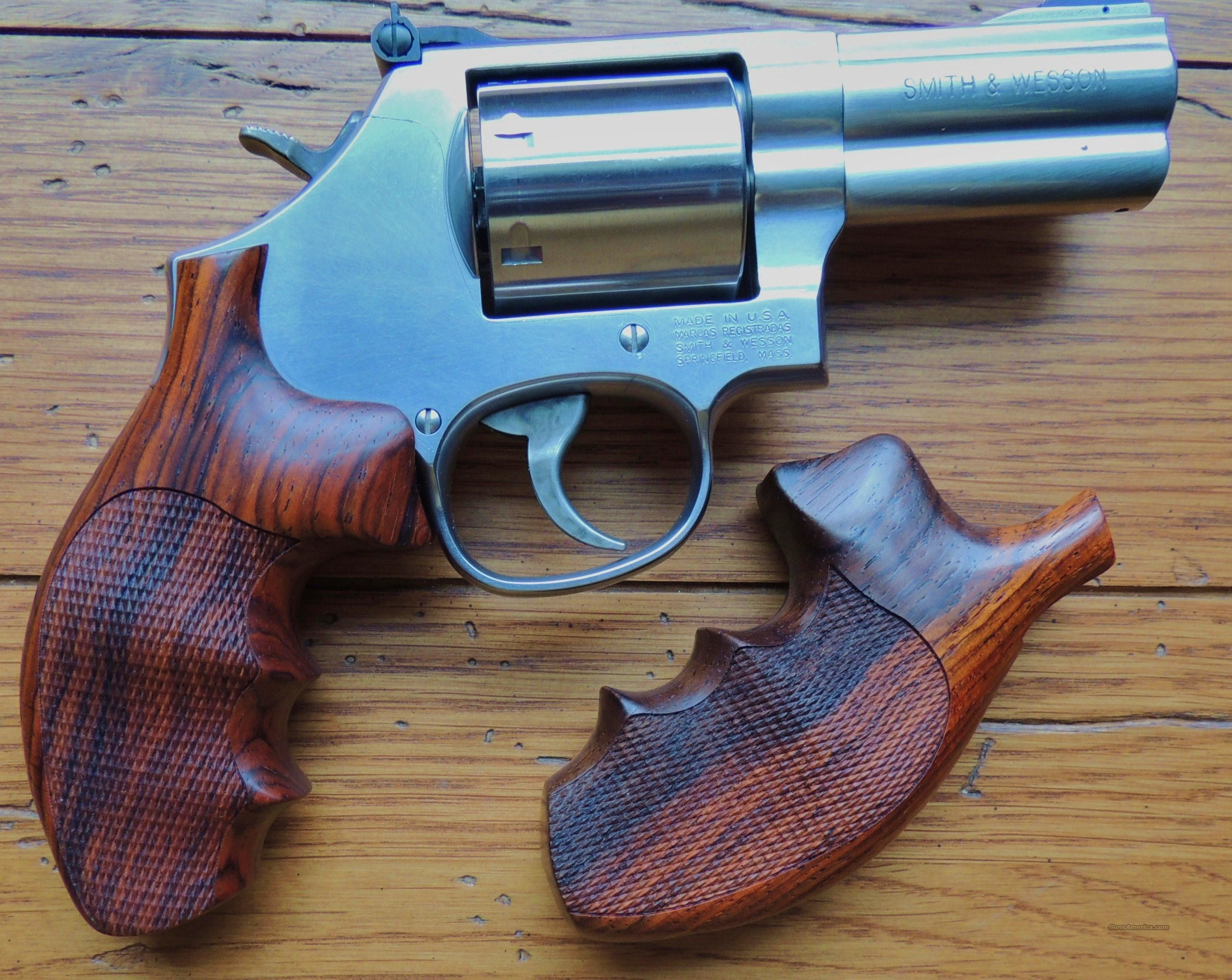 S&W K and L frame Hogue checkered wood finger g... for sale