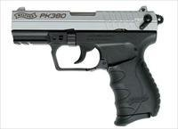 "Walther PK380 Pistol 5050309, .380 Auto, 3.66"", Synthetic Grip, Nickel Finish, 3 Dot Sights, 8 Rd"