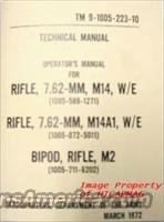 USGI M14 Operators Technical Manual 1972 M-14 M1A for Rifle and Magazine