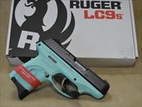 Ruger LC9S semi-auto pistol in 9mm caliber. Factory New in box. Special Talo Exclusive Edition. Turquoise blue polymer frame. Black slide. (1) 7 rnd magazine included. Adjustable 3 dot sights. Striker Fired.