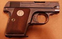 "Colt Model 1908, 25 Auto, Blue, Used, 2"" barrel, case hardened trigger and grip safety, Good Condition"