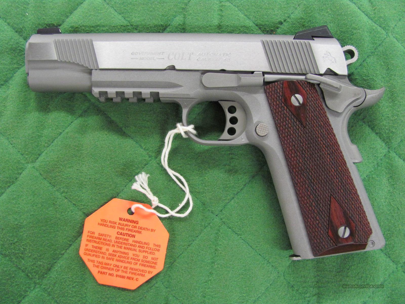 Colt 1911 Government Stainless Rail Gun 45 acp **NEW** Guns > Pistols