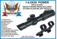 RIFLE SCOPE 1-4.5 X 28 CANTILEVER NIKON RINGS INCLUDED