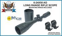 RIFLE SCOPE 6-24X50 AO LONG RANGE RINGS INCLUDED