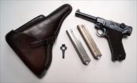1936 S/42 NAZI GERMAN LUGER RIG WITH 2 MATCHING # MAGAZINES