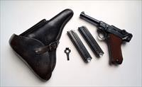 1938 S/42 NAZI GERMAN LUGER RIG W/ 2 MATCHING # MAGAZINE