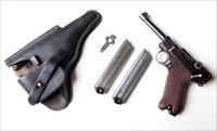 1920 DWM MILITARY / POLICE GERMAN LUGER W/ 2 MATCHING # MAGAZINES
