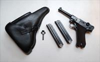 1941 CODE 42 NAZI GERMAN LUGER RIG WITH 2 MATCHING NUMBERED MAGAZINES