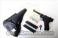 1938 S/42 NAZI GERMAN LUGER RIG  /  W/ AMMO / CAPTURE PAPERS