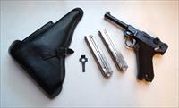 G DATE (MAUSER 1935) NAZI GERMAN LUGER RIG WITH 2 MATCHING NUMBERED MAGAZINES