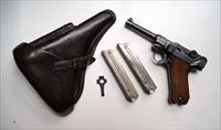 G DATE (1935 ) NAZI GERMAN LUGER RIG WITH 2 MATCHING # MAGAZINES