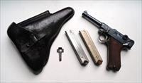 1921 DWM POLICE GERMAN LUGER RIG WITH 2 MATCHING # MAGAZINES