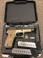 SIG SAUER P220R COMBAT THREADED 5 INCH BBL DARK SAND TWO TONE ONE MAGAZINE THROUGH GUN, MINT