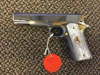 COLT GOVERNMENT MODEL .38 SUPER BRUSHED  STAINLESS ENGRAVED GOLD INLAYS MOTHER OF PEARL GRIPS NEW IN BOX