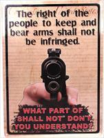 "Rivers Edge Products 12"" x 17"" Tin Sign The Right To Keep & Bear Arms"