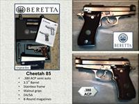 BERETTA CHEETAH Model 85 .380acp Checkered Wood - Nickel