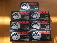 7 Boxes Wolf Performance Ammunition - .45 Auto 230gr CFMJ Steel Case