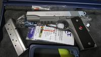"COLT DELTA ELITE STAINLESS WITH RAIL, 10MM AUTO PISTOL, (2) 8 ROUND MAGAZINES, 5"" BARREL"