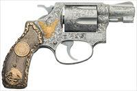 S&W MODEL 60 STAINLESS STEEL CUSTOM ENGRAVED WITH STERLING SILVER & 14K GOLD GRIPS AND 14K GOLD ACCENTS. FABULOUS HEIRLOOM PIECE!! ACCENTS.