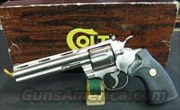 VERY RARE COLT PYTHON IN FACTORY ELECTROLESS NICKEL FINISH IN 6 INCH BARREL, NEW IN FACTORY ORIGINAL BOX WITH PAPERS !!