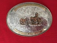 East Texas QHA Spring Circuit 1980 Champion Cutting Horse Silver Belt Buckle
