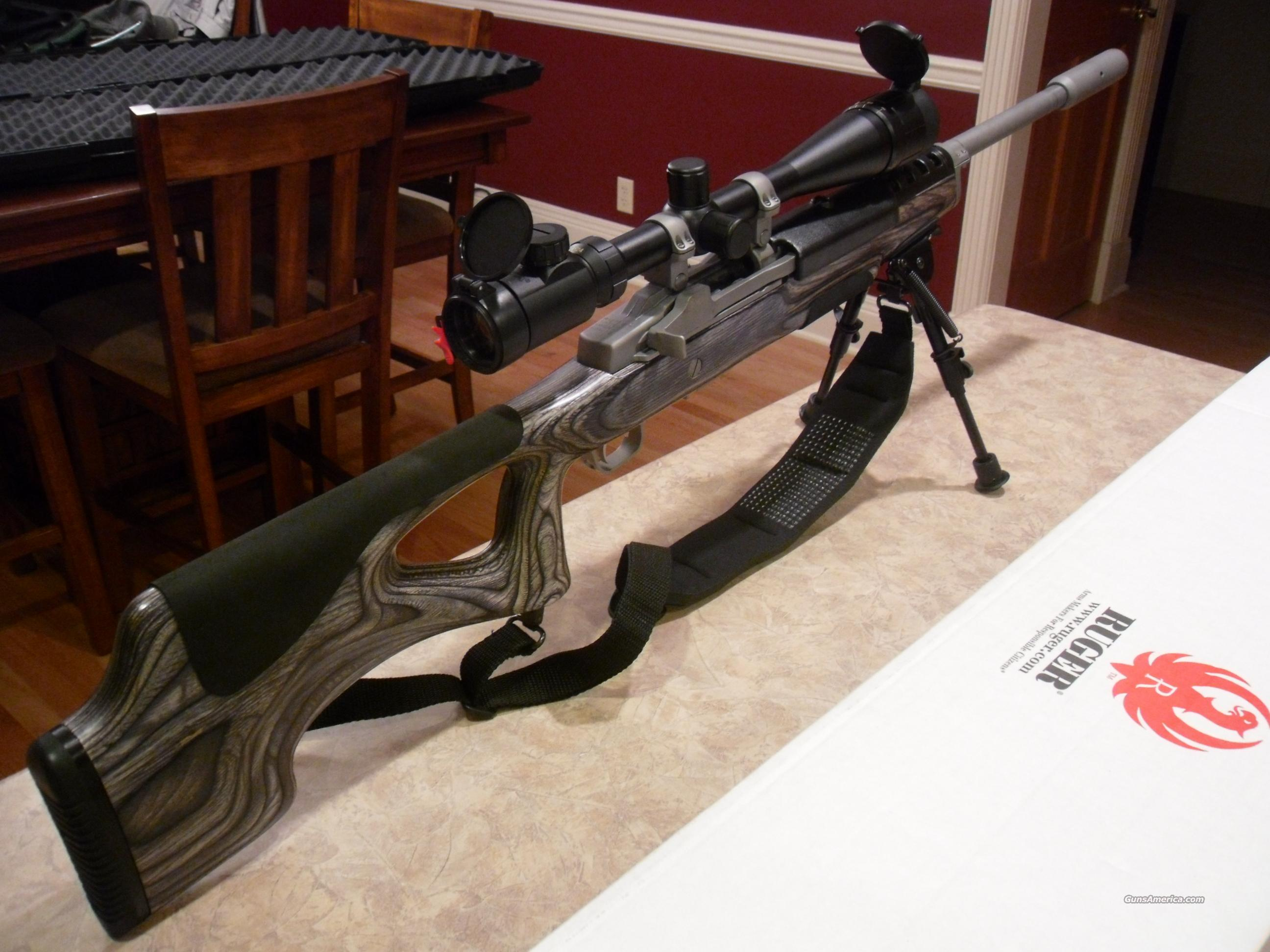 Ruger Mini 14  223 Laminate, Target ranch Bull Barrel, Thumb Hole Stock!  lots of Accessories Trades!!!!!! Free Shipping!