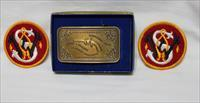 S&W Brass belt buckle NEw with patches