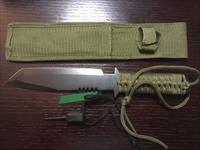Fury Tactical knife, Stainless with OD green cord handle