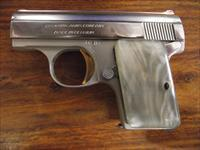 BROWNING ARMS CO. BABY BROWNING, MADE BY FN IN BELGIUM, FACTORY NICKEL, MOTHER OF PEARL GRIPS, RARE VARIANT, 95% CONDITION
