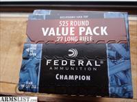 22 LR ammo Federal 525 round Value Pack ammunition
