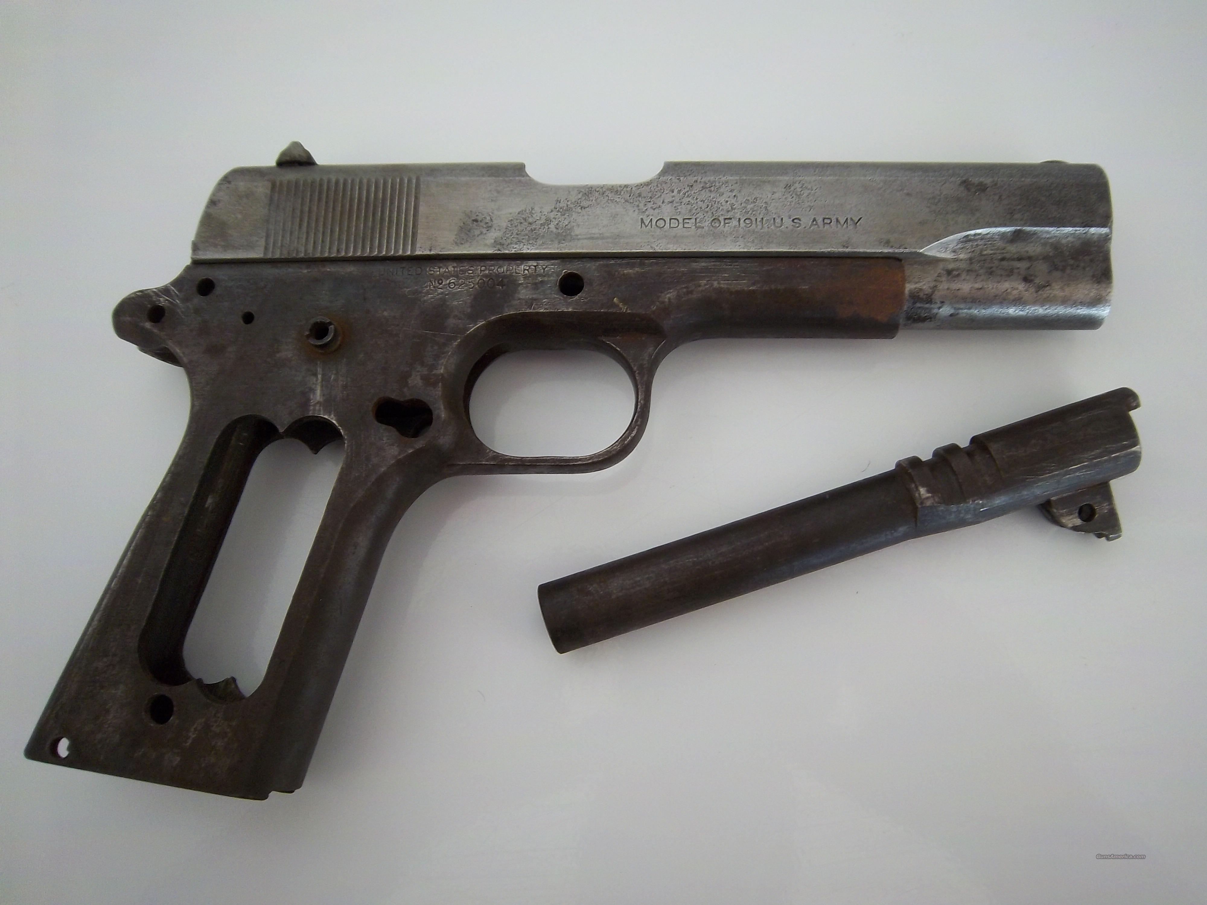 WWI COLT 1911 US ARMY FRAME/SLIDE/BARREL for sale