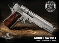 Smith & Wesson 1911 Custom Engraved Pistol 10270, 45 ACP, 5 in, Wood Grip, Stainless Finish, 8 Rd