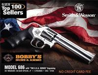 SMITH AND WESSON 686 13184 357 6IN USA FLAG SS