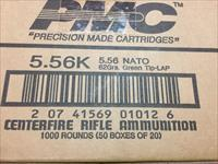 PMC 5.56 Green Tip, 62 Grain, 1000 round case