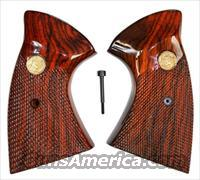 Colt MKIII Trooper & Lawman Rosewood Grips, Checkered With Medallions