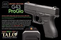Glock 43 9MM Pistol - Talo Edition with Night Sight