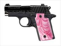 SIG P238 380ACP NITRON SLITE ENGRAVED w/Pink PEarl Grip