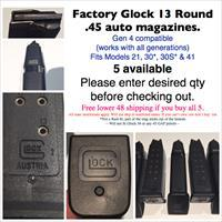 13 round .45 auto Factory Glock Mags, virtually new (5 available)