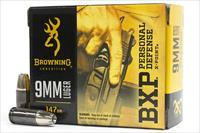 200 rounds Browning BXP X-Point 147gr. 9mm JHP Ammunition 9x19 9 luger 1000fps B191700091
