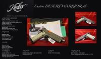 "KIMBER CUSTOM DESERT WARRIOR 5"" .45acp 1911 Desert Tan, NIGHT SIGHTS, KimPro II Front serrations 45"