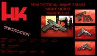 Hk H&K Heckler Koch VP40 VP SERIES TACTICAL NIGHT SIGHTS 40s&w 13 round M700040TLE-A5 3 mags