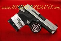 Sig Sauer P938 AG TWO TONE ALUMINUM GRIP 938-9-AG-AMBI 9MM 1911 POCKET CONCEAL CARRY 6 ROUND