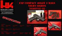 HK H&K USP COMPACT USP40 V1 NIGHT SIGHTS 3 MAGS 40